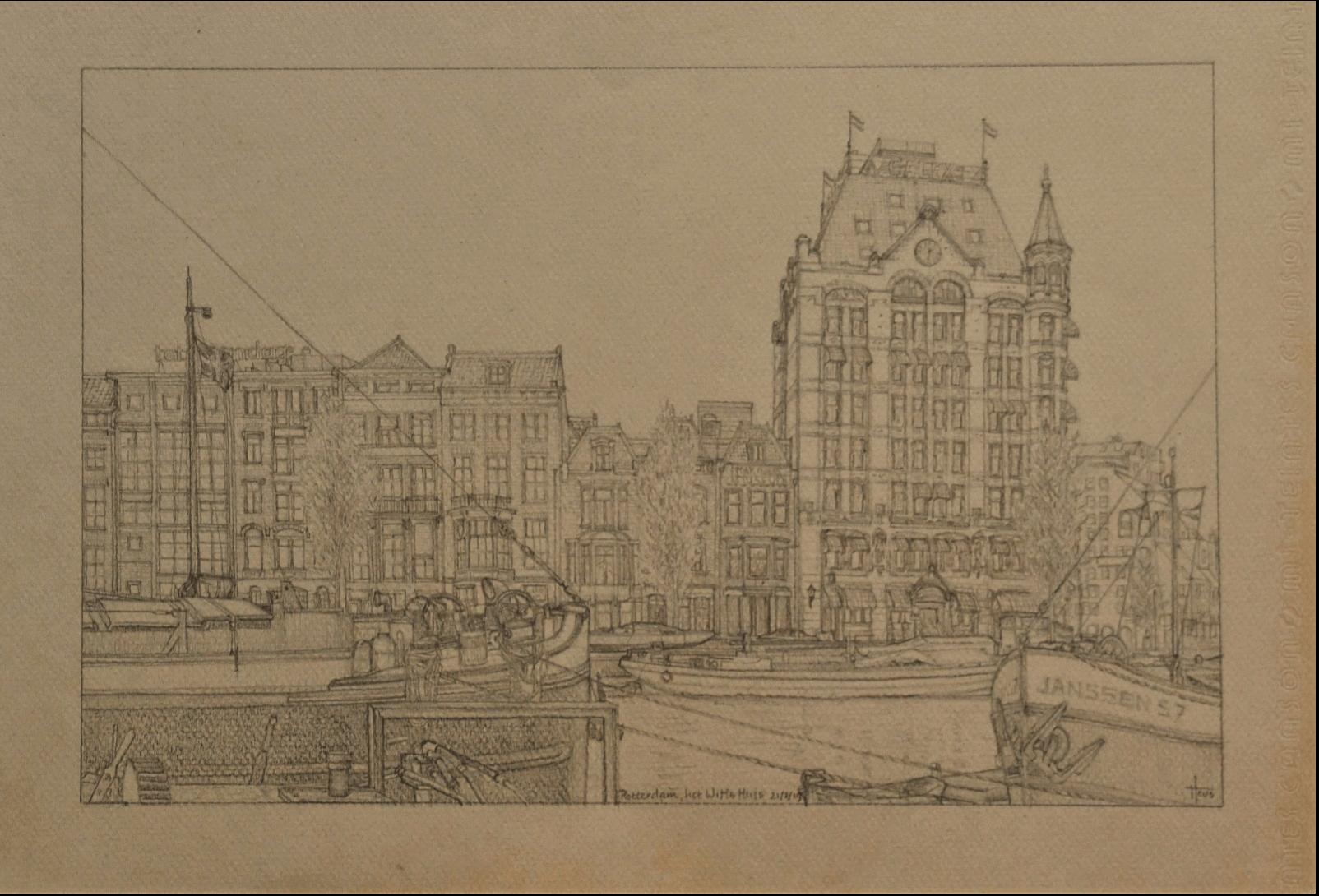 Tekening van Rotterdamse Gebouwen